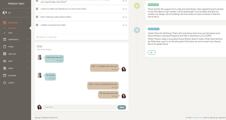 Django Dashboard Paper PRO - Timeline Screen.