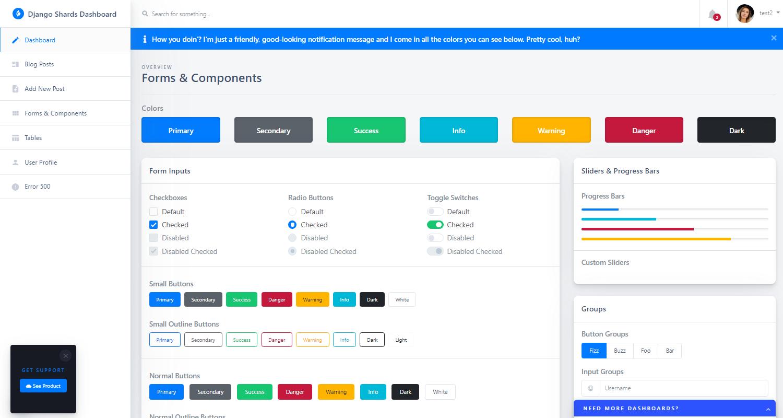 Django Dashboard Shards - UI Components Page.