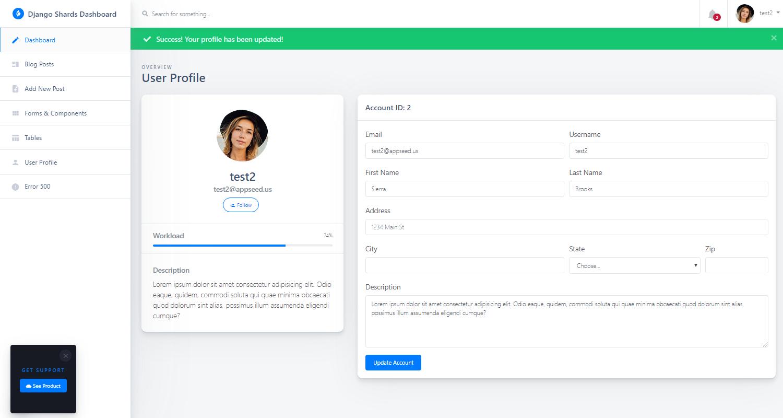 Django Dashboard Shards - User Profile Page.