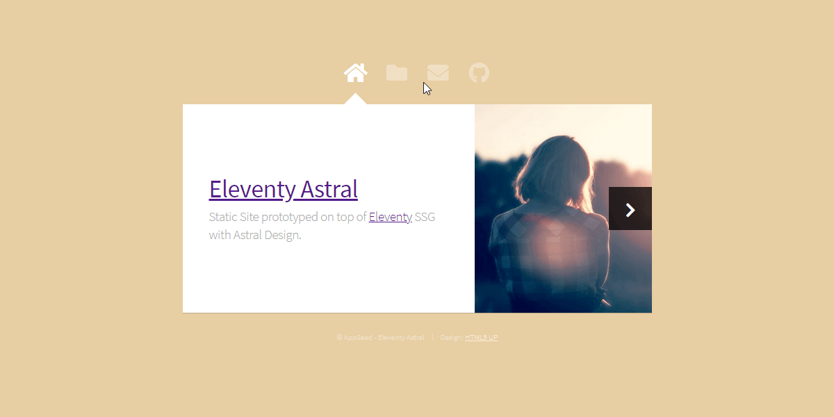 Eleventy Html5UP Astral - Static Site built with 11ty.