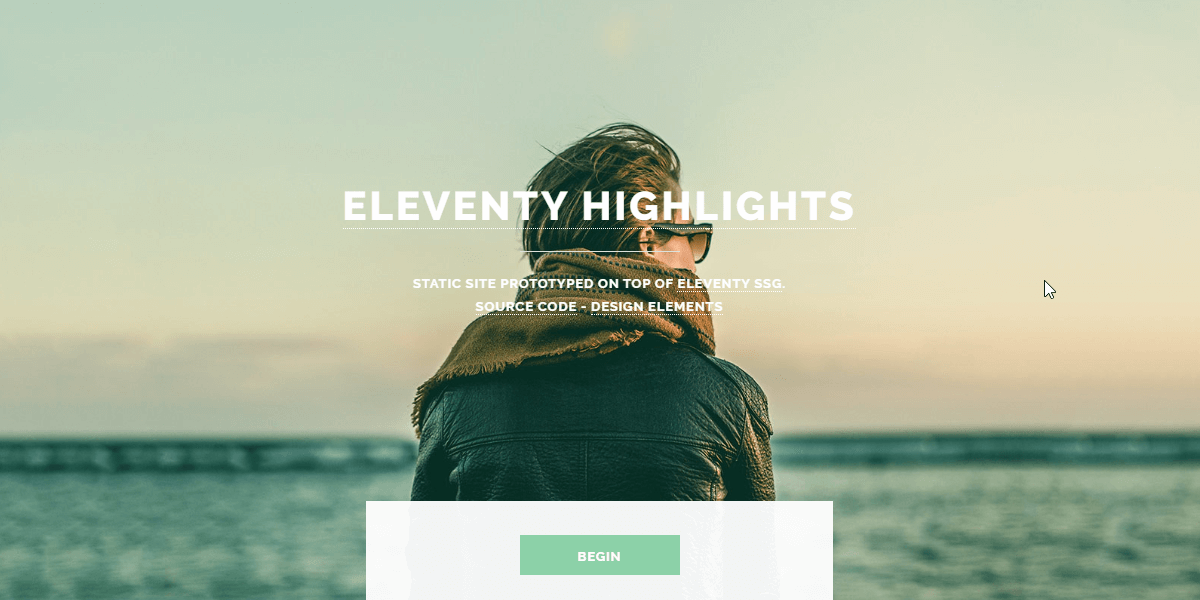 Eleventy Static Site with Highlights design.