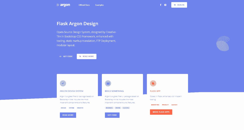 Main Image of Flask Argon Design WebApp - generated in Flask by AppSeed App Generator.