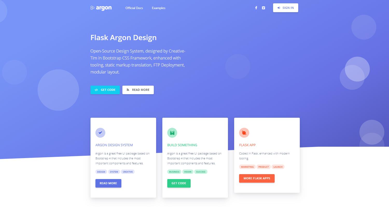 Flask Argon Design - Open-Source Web App coded in Flask.
