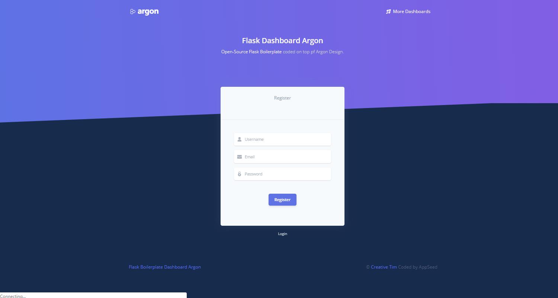 Argon Dashboard - Registration Page.