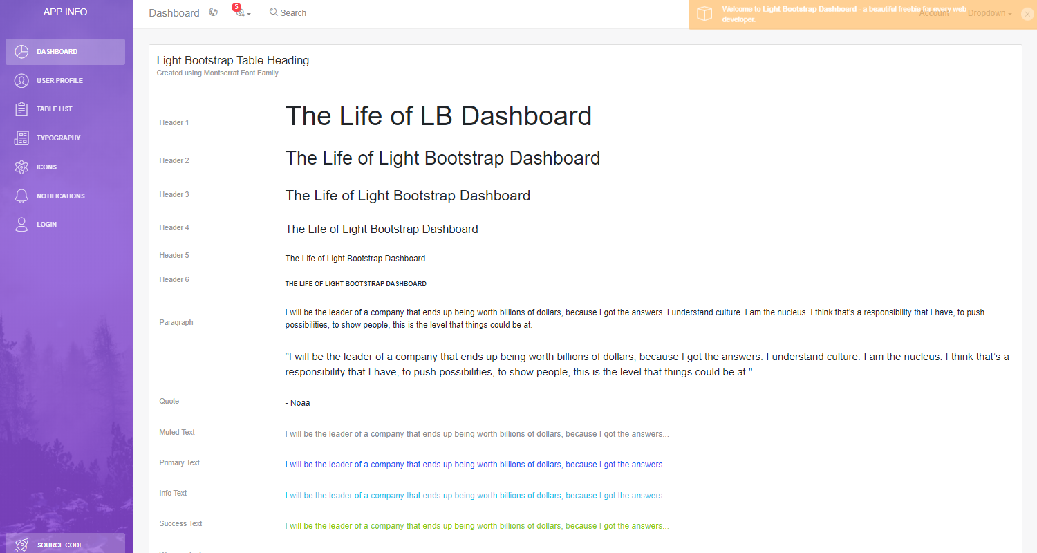 Flask Dashboard Light - User Profile Page.