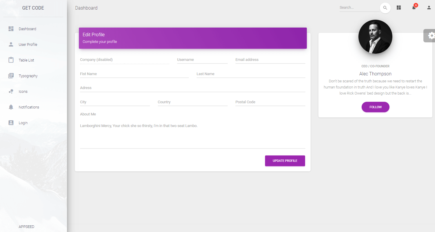 Flask Dashboard Material - UI Fonts Page.