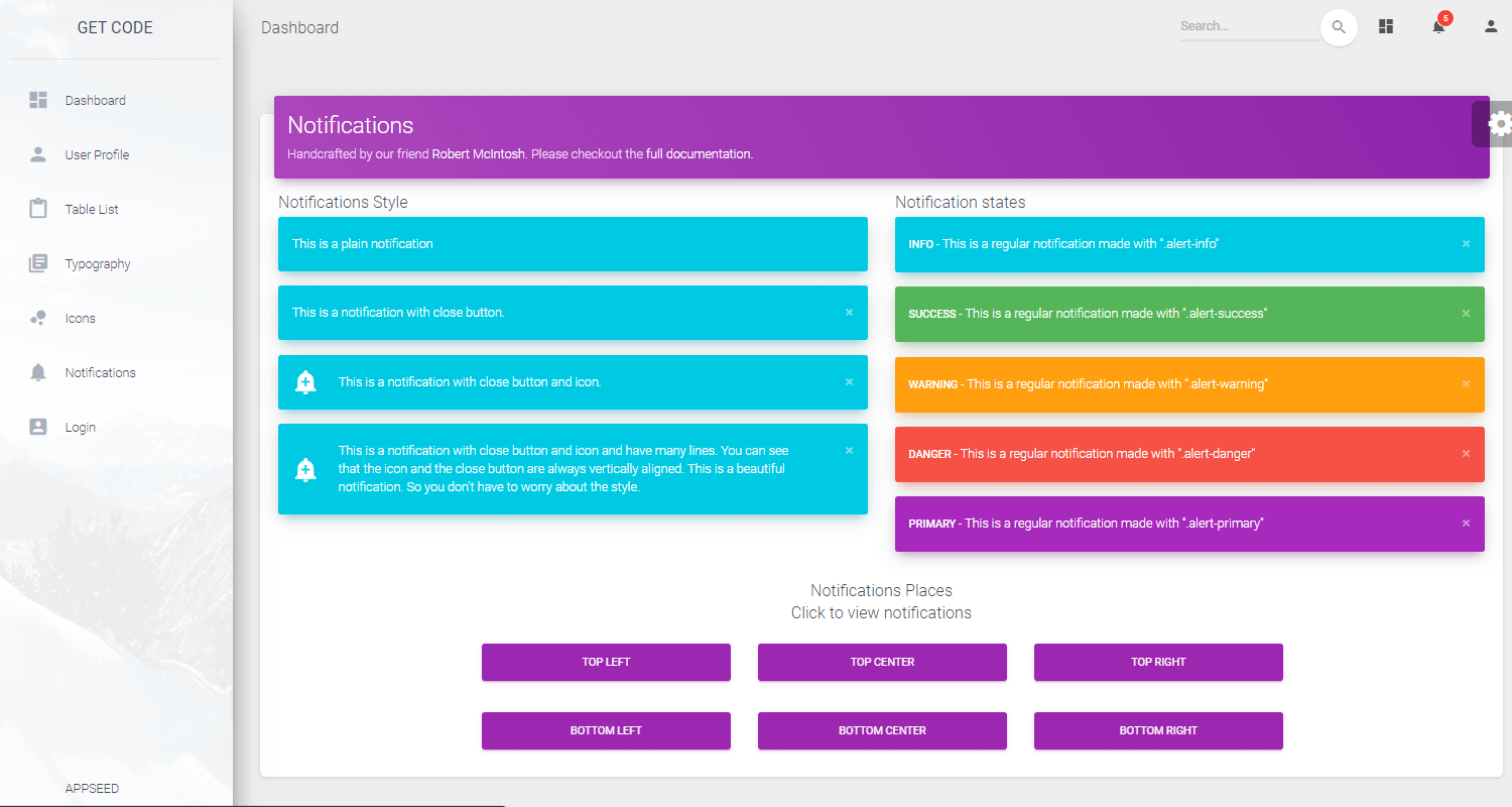 Flask Dashboard Material - Google Maps Page.