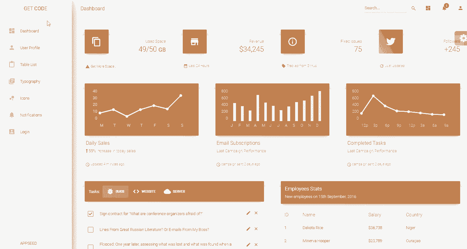 Main Image of Flask Dashboard Material WebApp generated by AppSeed App Generator.