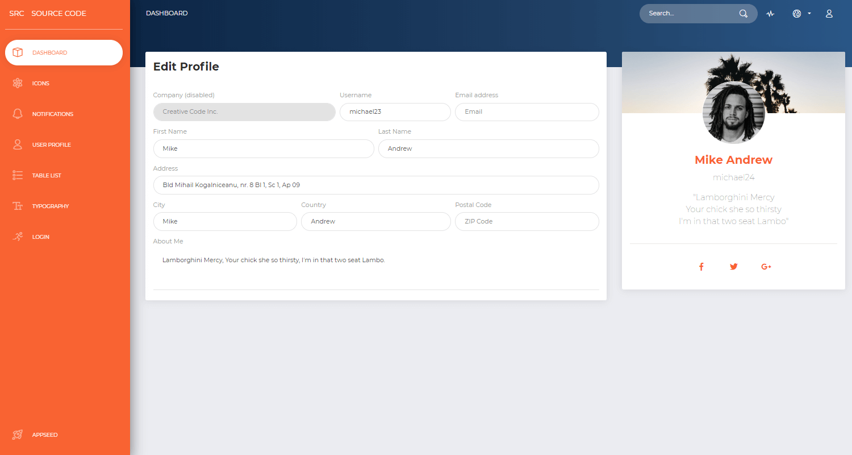 Flask Dashboard Adminator - User Profile Page.
