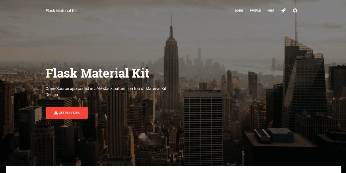 Flask Material Kit - Open-Source Web App coded in Flask.