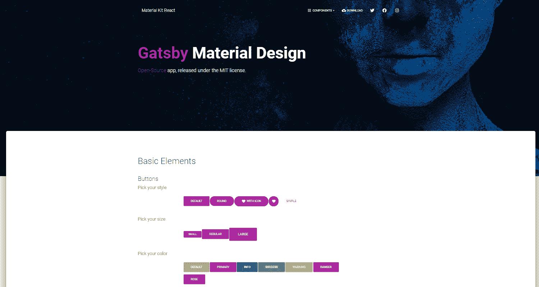 GatsbyJS Material Kit - a beautiful GatsbyJS starter.