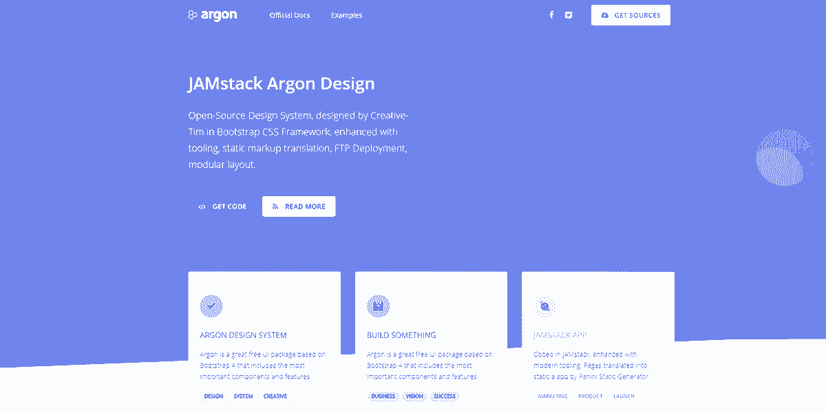 Main Image of JAMStack Argon Design - Web App built with Panini Static Generator.