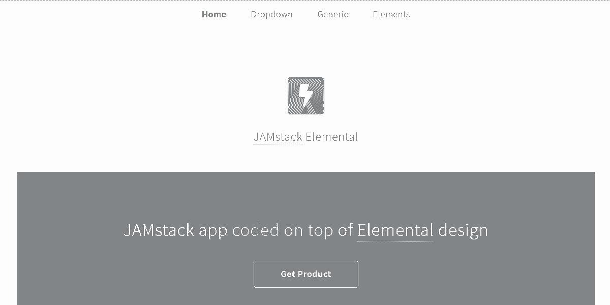 Main Image of JAMStack Elemental - Web App built with Panini Static Generator.
