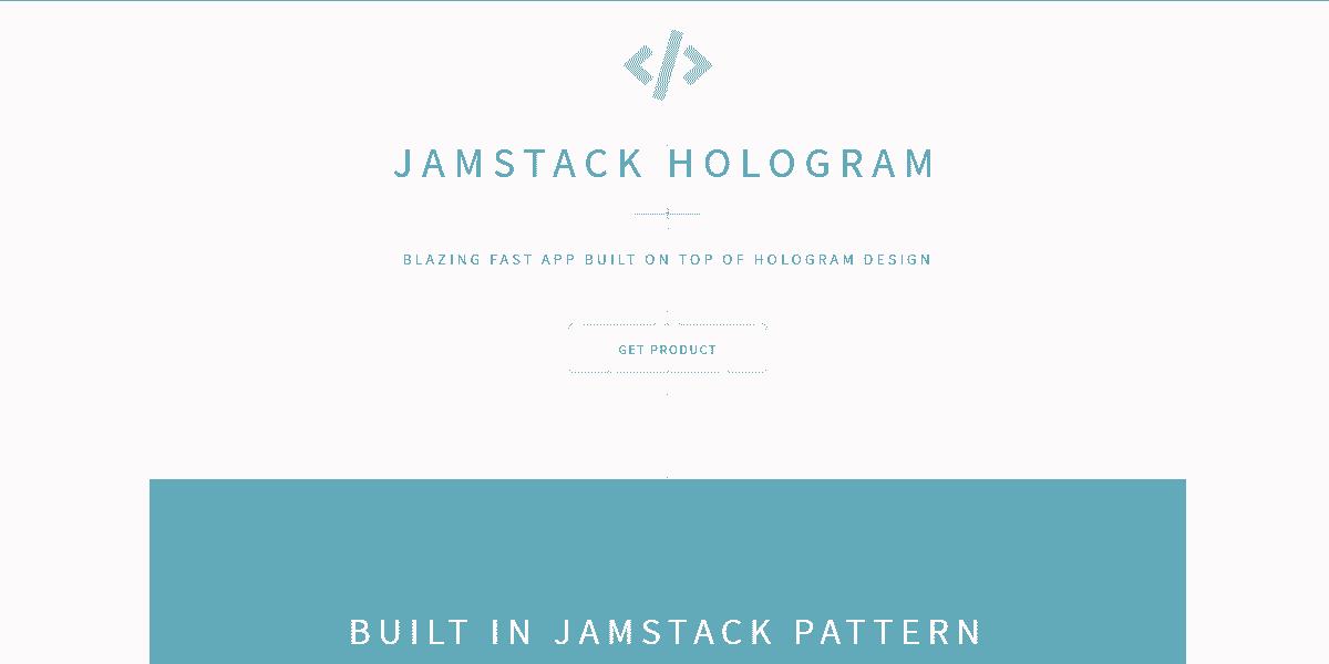 Main Image of JAMStack Hologram - Web App built with Panini Static Generator.