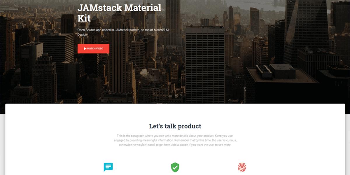 JAMstack Material Kit - Open-Source Starter coded in JAMstack.