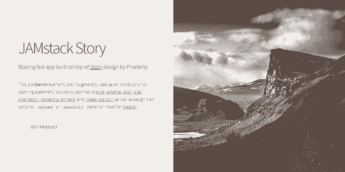 Main Image of JAMStack Story - Web App built with Panini Static Generator.