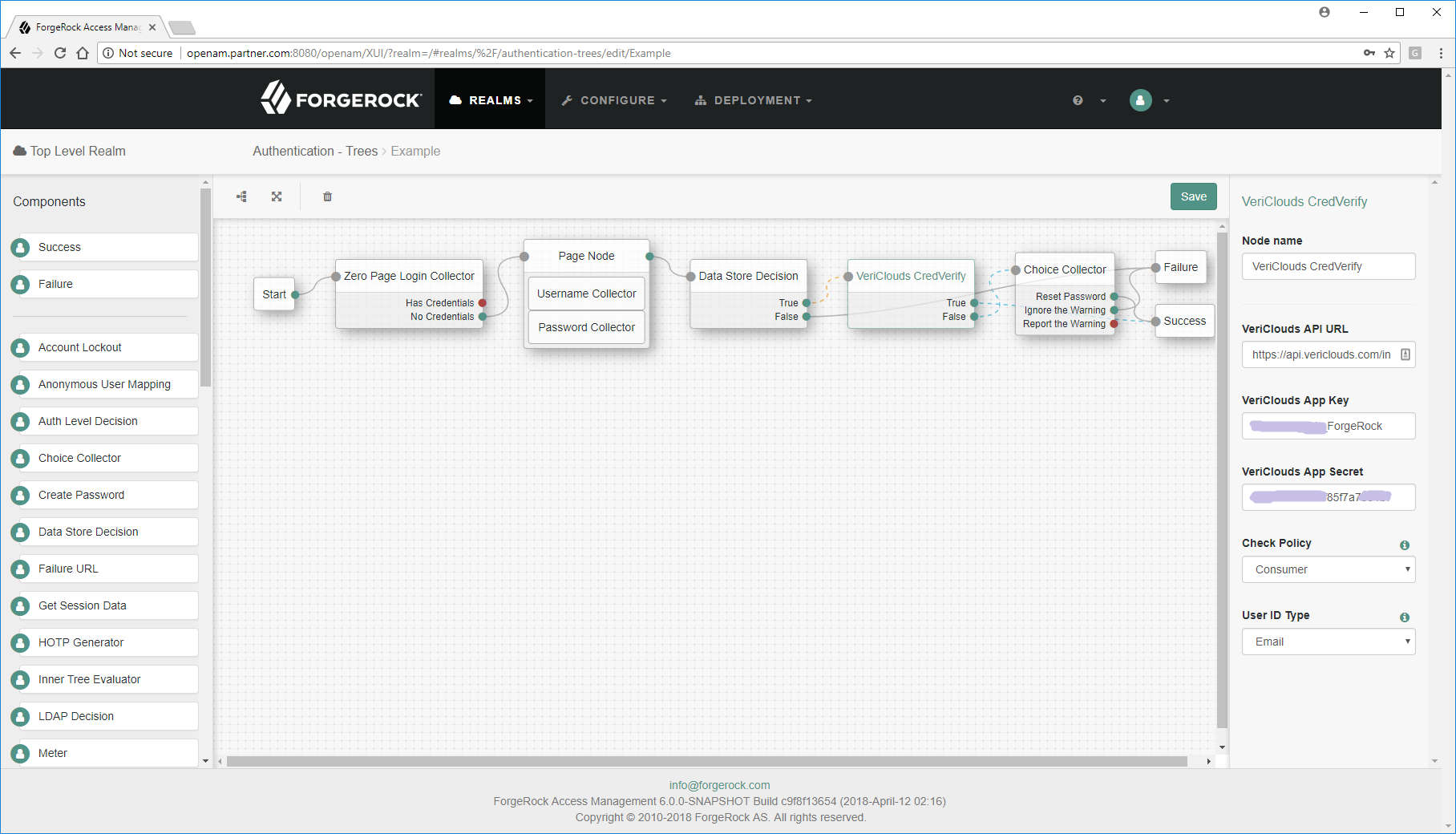 Configure Authentication Tree with CredVerify Node
