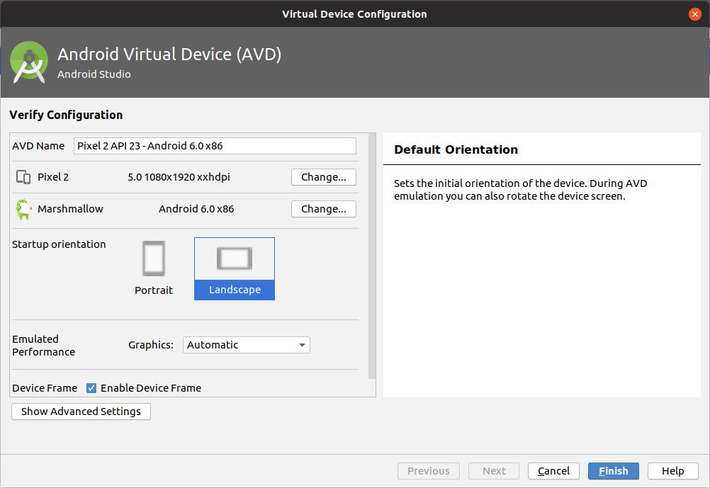 Android Emulator Configuration