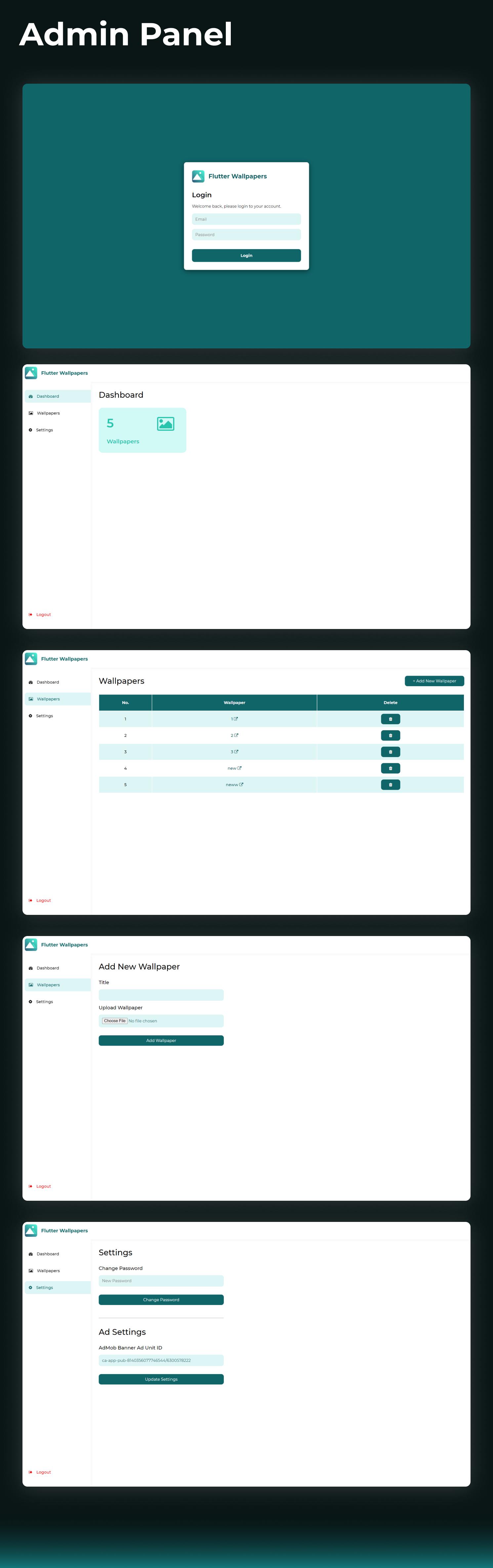 Flutter Wallpaper App + React.js Admin Panel (with Firebase) - 3