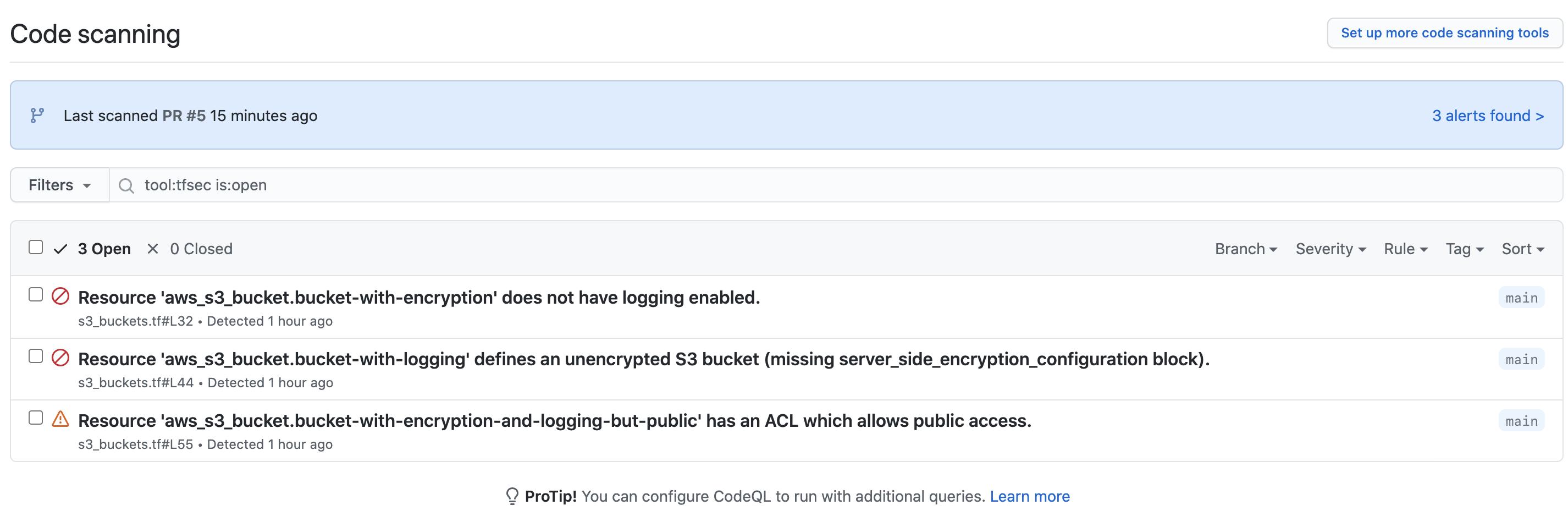 github security alerts