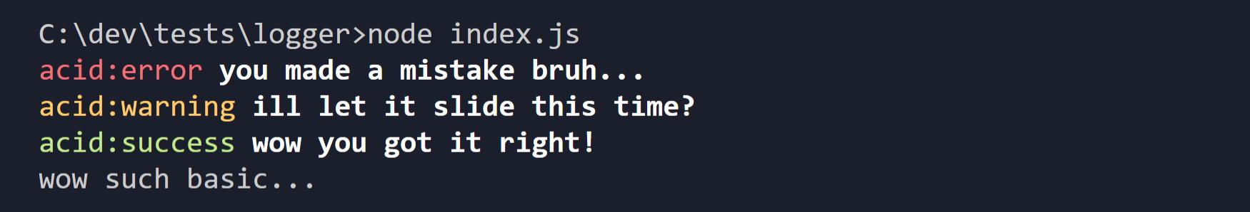 Acid JS - Log Example