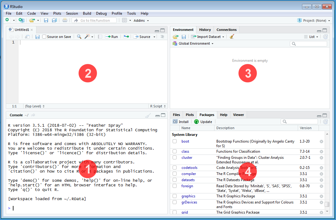The default `RStudio` interface with the four panes.