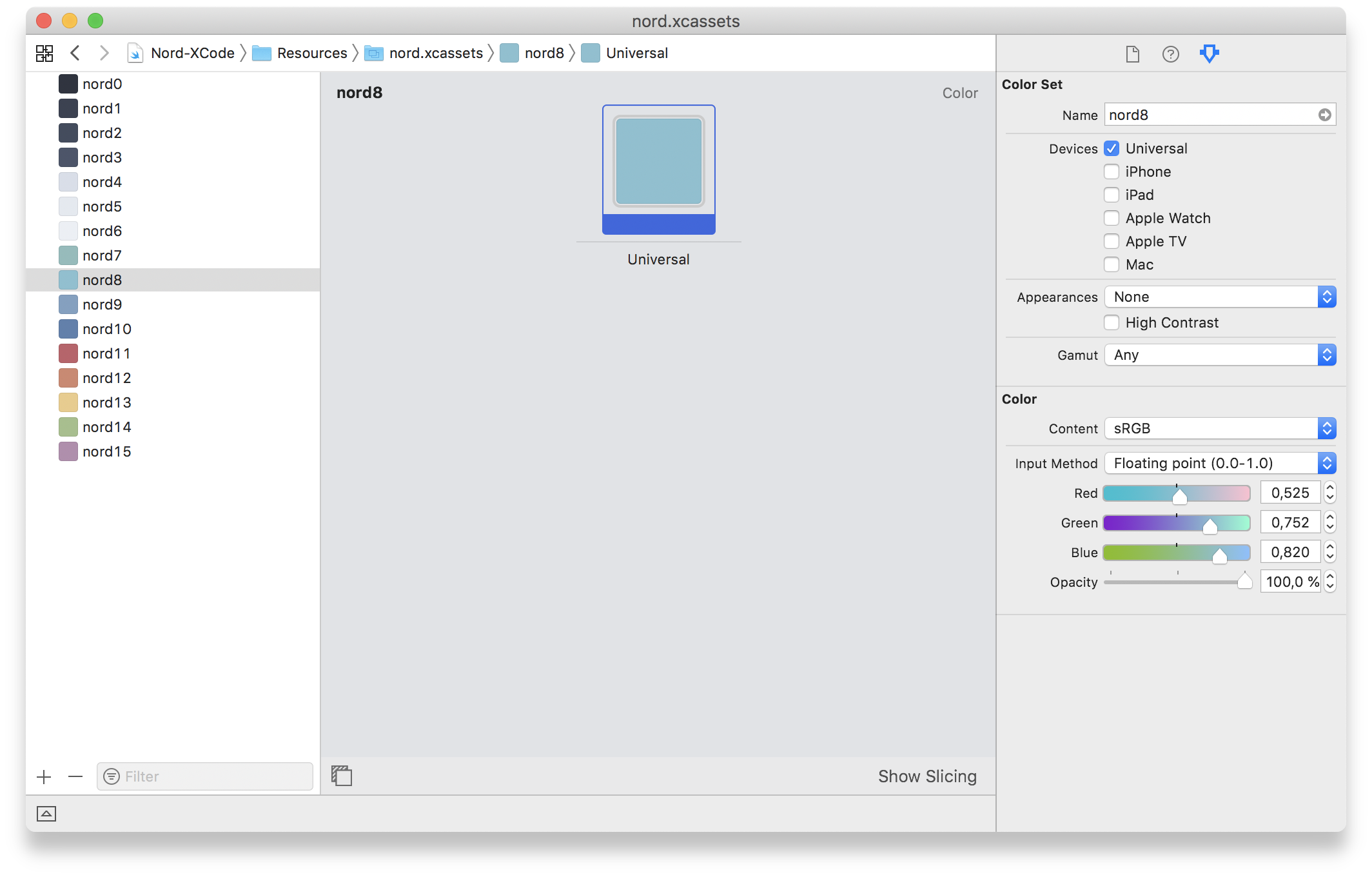 Preview: Nord Xcode Asset Catalog Color Set