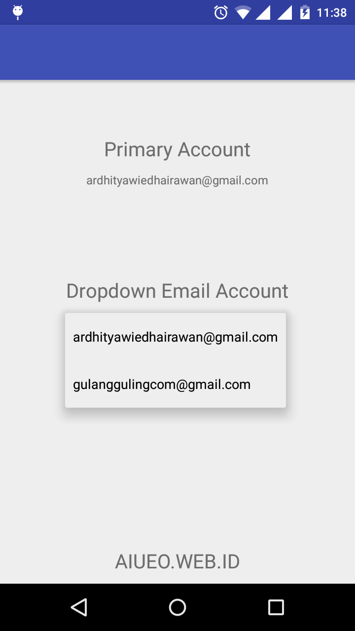 Get-Email-Account-Android - Sample Code and Directory of libraries