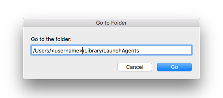 Type the directory containing the autolauncher file, change <username> with your Mac username, by default the directory is /Users/username/Library/LaunchAgents