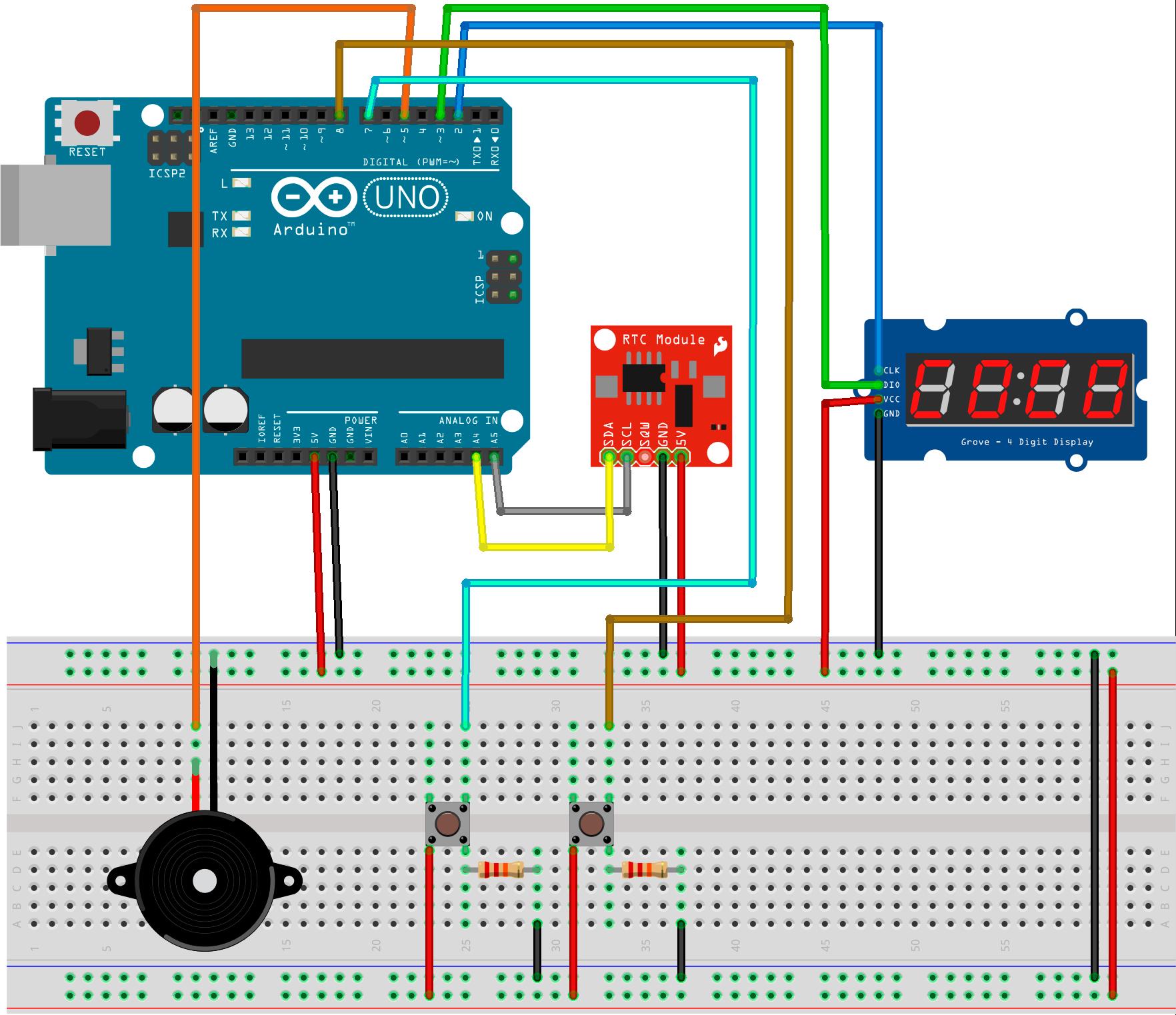 Arduino alarm clock schema