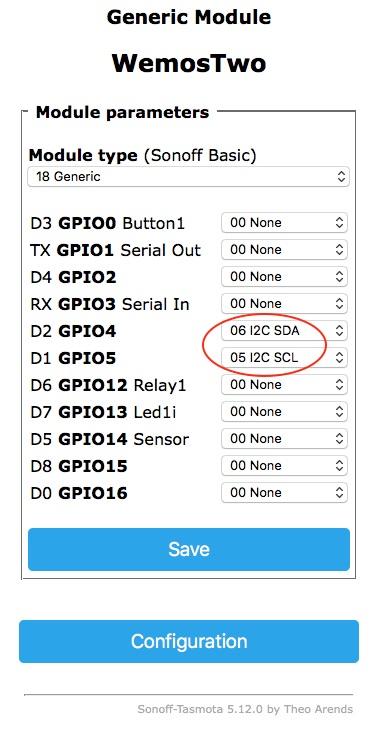 I2C GPIO configuration