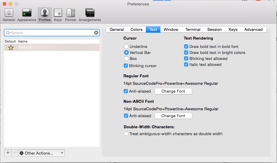 iTerm2 Preferences Page