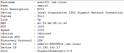 Get-ESXNetworking -PhysicalAdapters