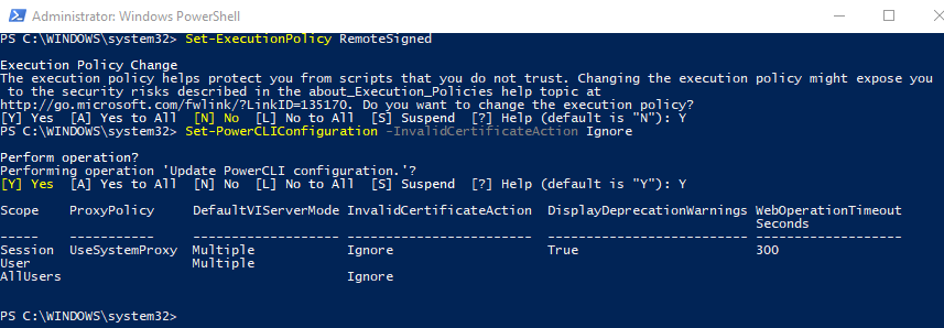 Enable remote scripts and ignore certificate warnings