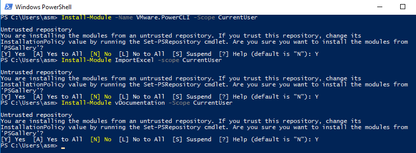 Install PowerCLI, ImportExcel and vDocumentation modules