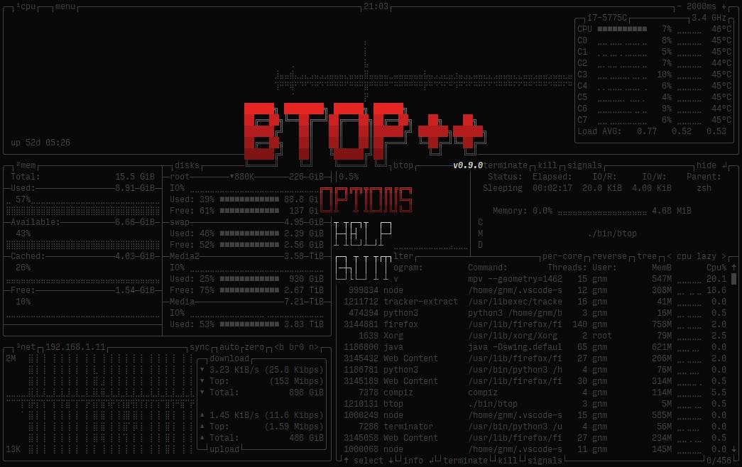 btop++ menu