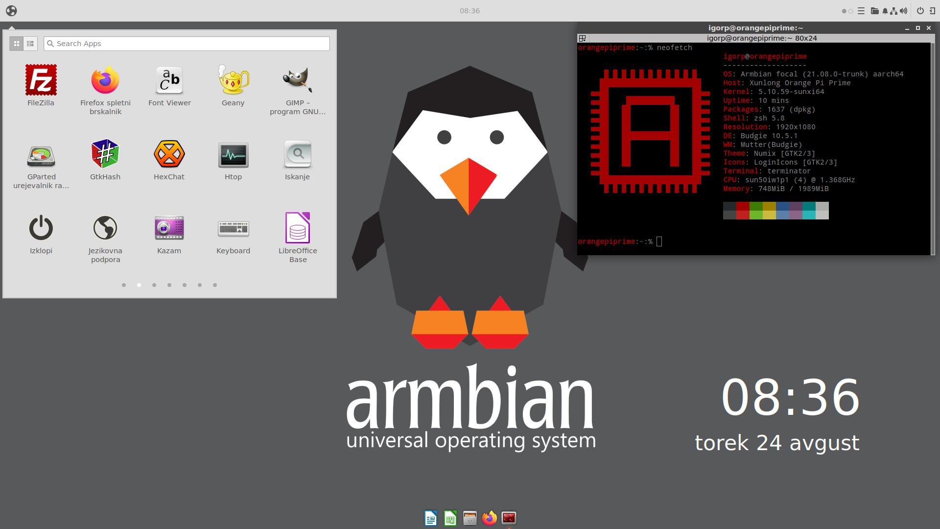Armbian Budgie desktop