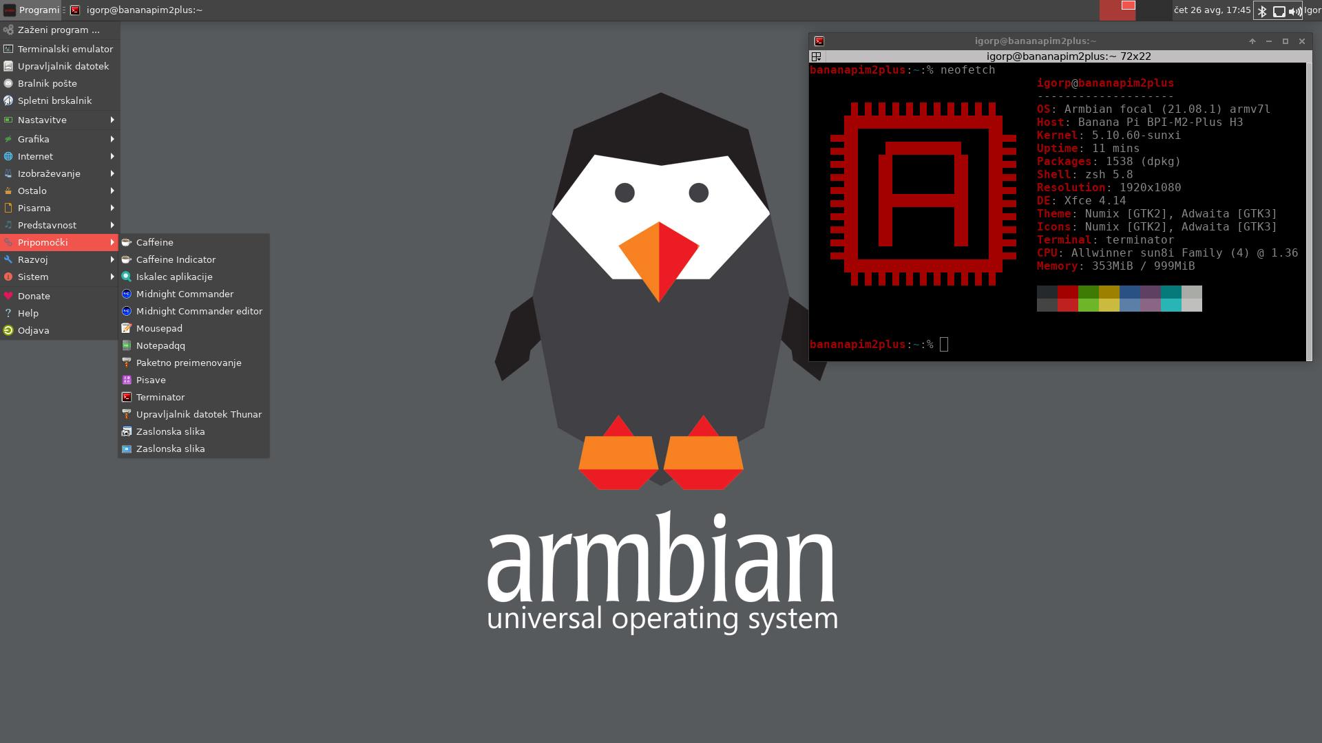 Armbian XFCE desktop