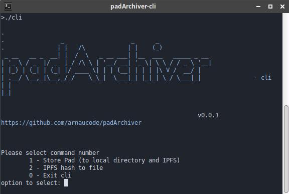 padArchiver-cli