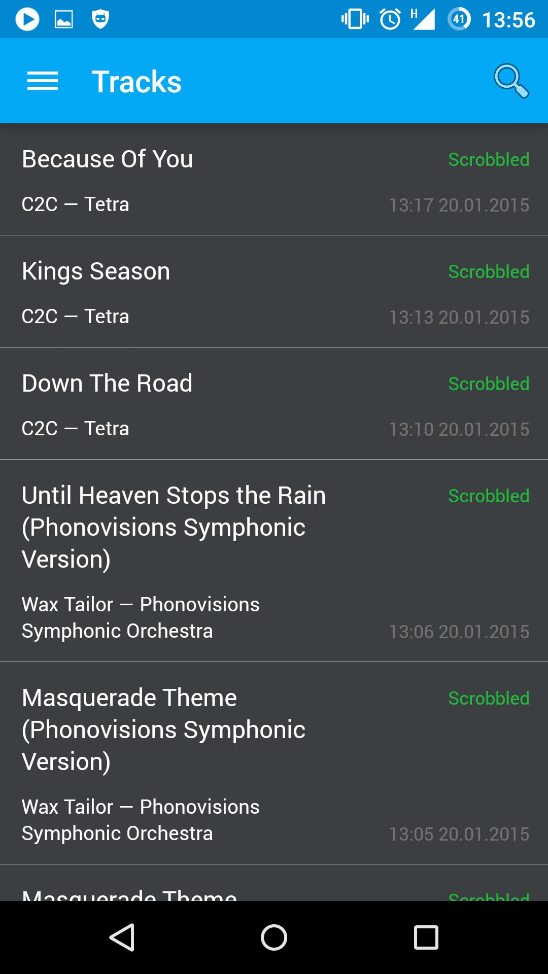 Captured tracks list