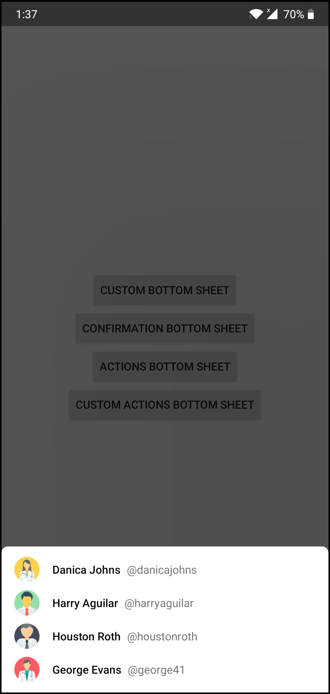 Material Bottom Sheets library for Android
