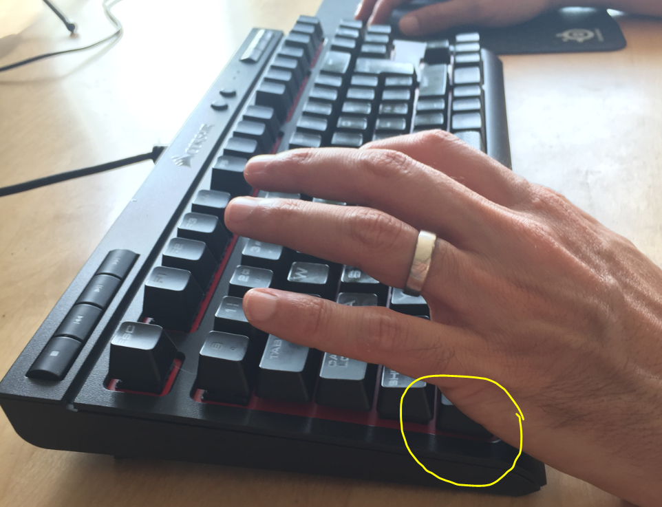 Pressing Control key with hand side