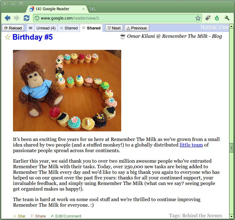 Screenshot of Open Google Reader in action