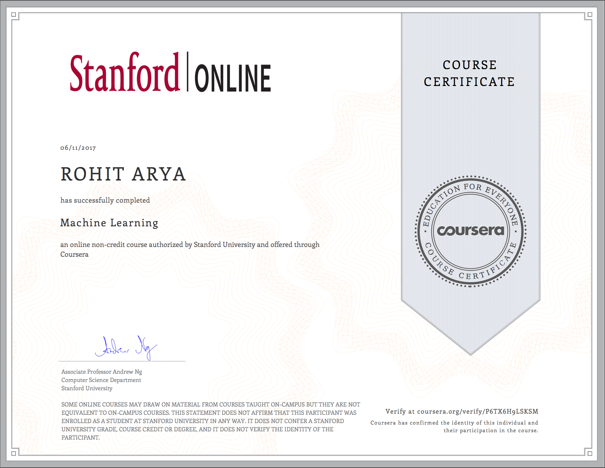 Github Aryarohit07 Machine Learning Coursera Andrew Ng Programming Assignments From Coursera S Machine Learning By Stanford University Course Taught By Andrew Ng