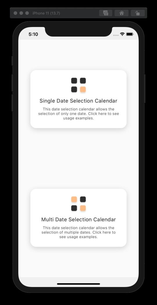 React Native Easy Calendar - Example App