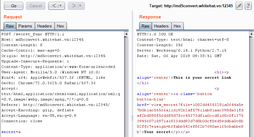 CTFtime org / AceBear Security Contest 2019 / md5Converter