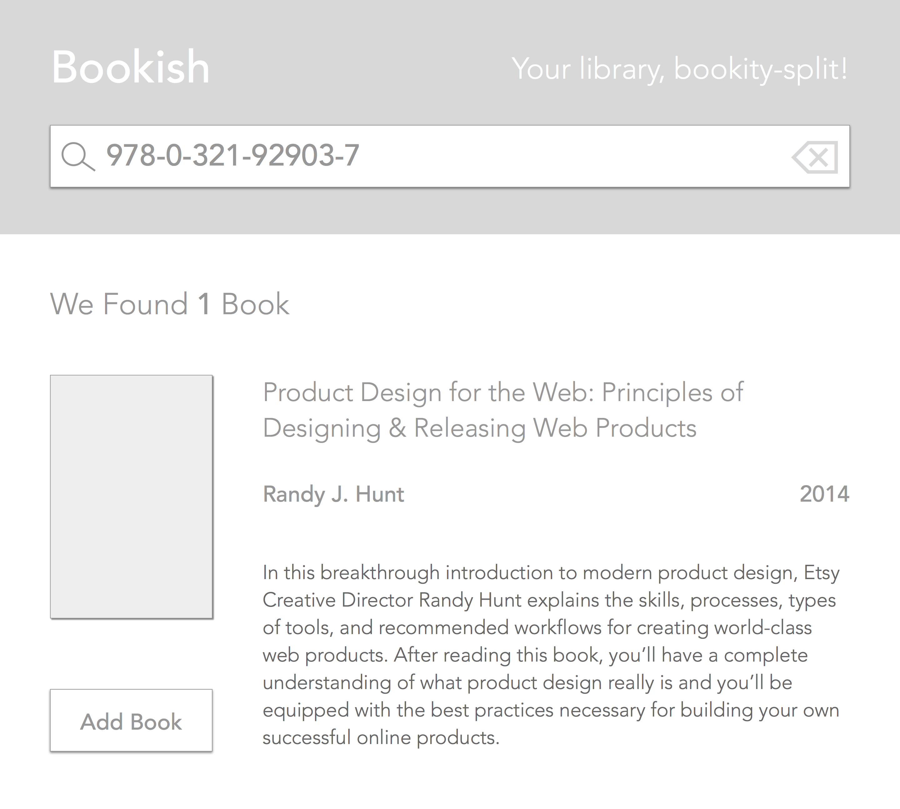 Book detail screen wireframe.