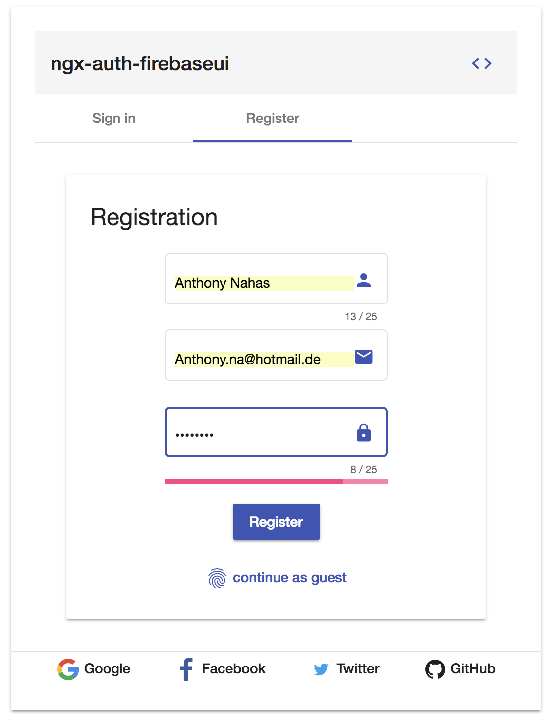 ngx-auth-firebaseui sign up