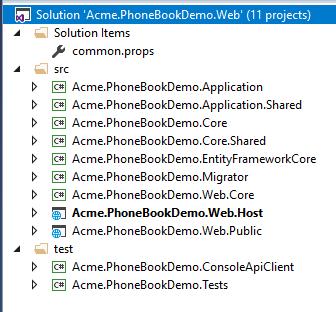 ASP.NET Core solution structure