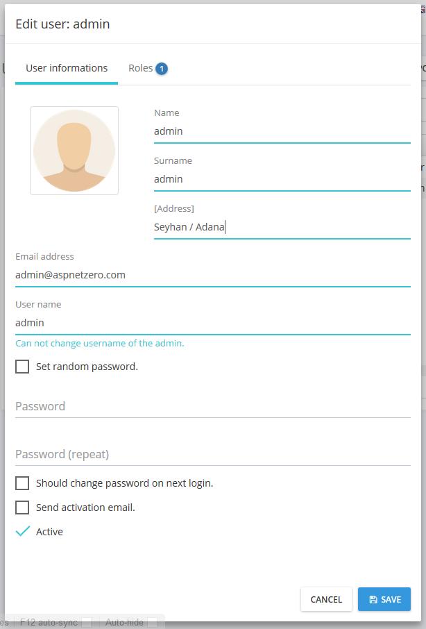 Address on user edit form